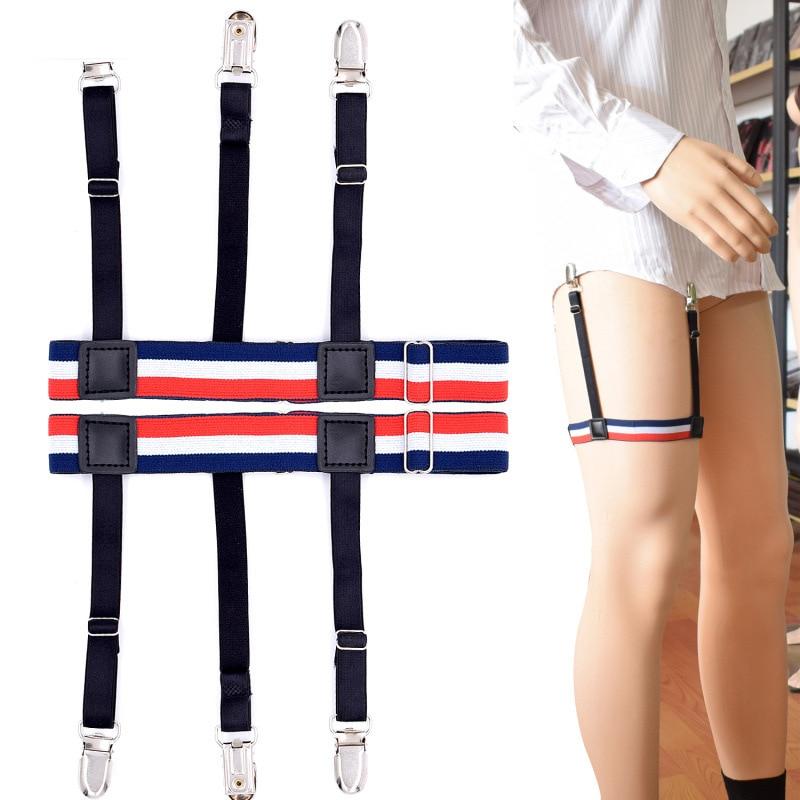 2 Pairs Black White Stripes Men Shirt Stays Garters Suspenders Braces Elastic Garter With Non-slip Locking Clamps Shirt Holder