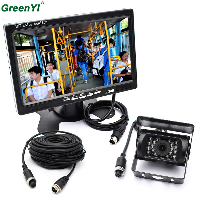 2 in 1 Car Monitor 7 Inch 800*480 Color TFT LCD Car Rear View Rearview Monitor+Backup Reverse Parking Camera For Bus Truck for skoda superb b6 type 3 t 5d liftback 200 2014 car reverse rear camera 4 3 tft lcd monitor 2 in 1 parking system