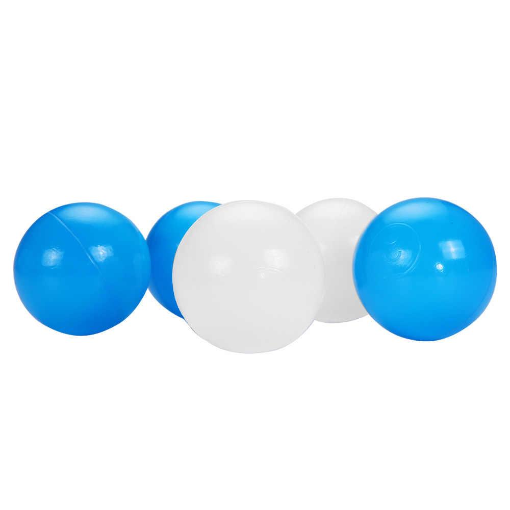 100 قطعة/الوحدة صديقة للبيئة الأزرق الأبيض الكرة حفر لينة البلاستيك المياه بركة المحيط موجة الطفل مضحك اللعب الإجهاد الهواء الكرة الرياضة في الهواء الطلق