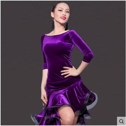 0d1eb30bd49 Latin Dance Dress Sexy Silky Velvet Latin Girls Fringe Ballroom Skirt Tango  Dress salsa robe de danse latine filles danza latino-in Fabric from Home ...