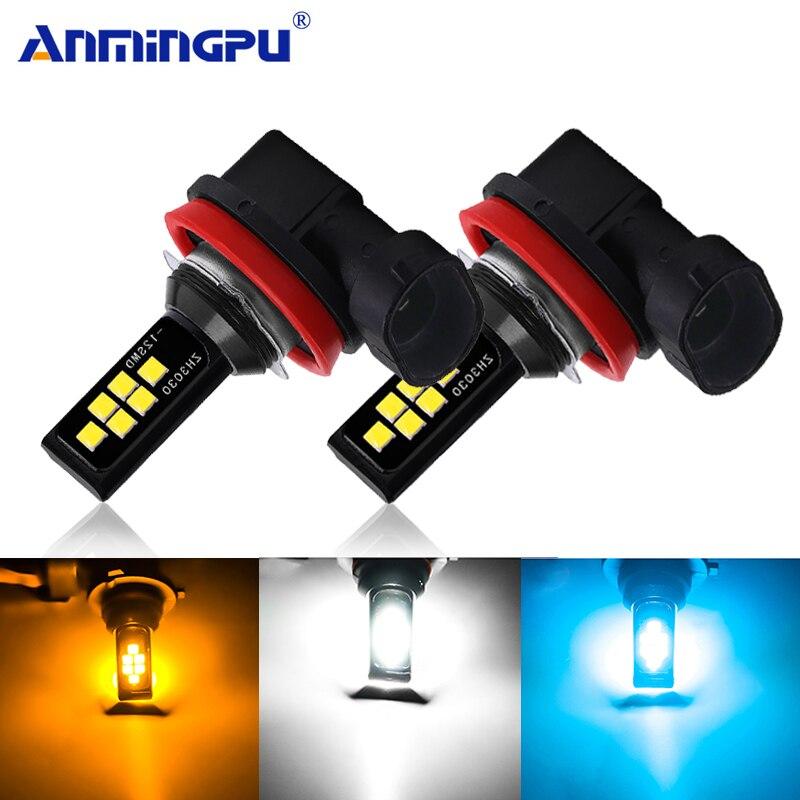 Anmingpu 2x H8 H11 Led Lamp 6000K Car Fog Lamp H1 H3 Led 9005 HB3 9006 HB4 Led H9 H7 H4 3000K 8000K 2000LM Driving Running Light