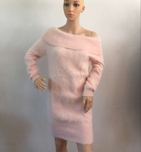Mink sashmere slash neck sweater long fur Pullovers Knitted dress J60