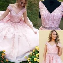 V neck Neckline Sleeveless Lace Applique Ball Gown Wedding Dress with Beading Belt Sweep Train Bridal Dress abito da sposa