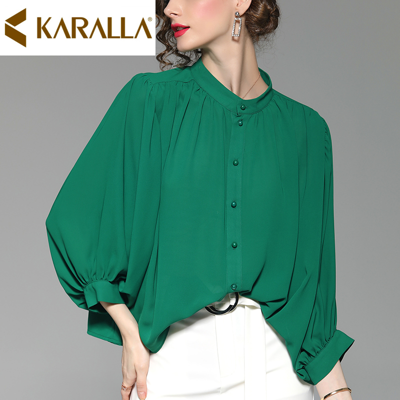 c5c9178ac1c Retro-Color-s-lido-Chiffon-manga-linterna-camisa-de-las-mujeres-de -moda-Collar-breasted-blusa.jpg