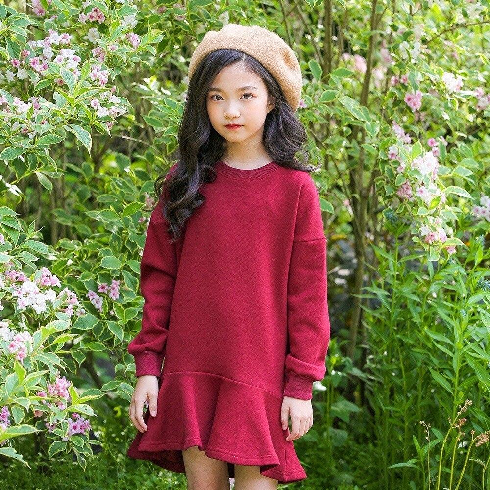 Christmas Warm Velevet Sweatshirt Girls Dresses Autumn Winter Ruffles Long Teenage Child Sweatshirt For Girls Red Brown Clothing sweatshirt ruck