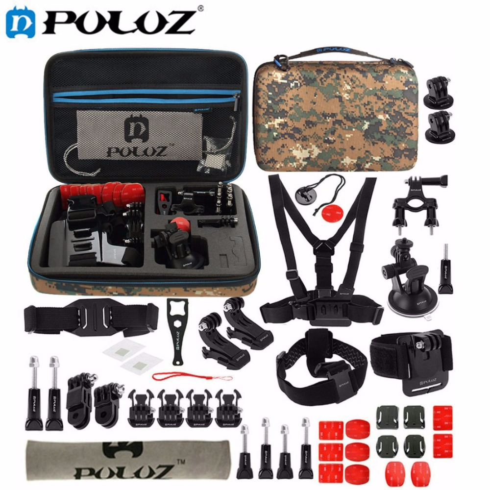 PULUZ For Go Pro Accessories 45 in 1 Ultimate Combo Kit W/ Camouflage EVA Case stocker for GoPro HERO5 HERO4 Session HERO 5 4 3+