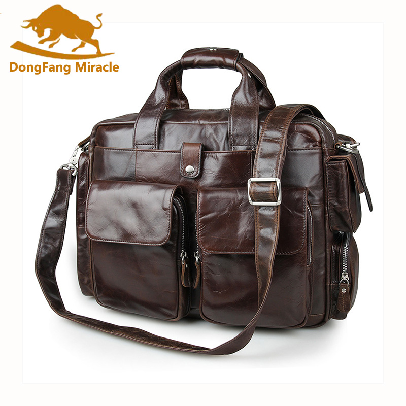 Brand new vintage men bags Business Briefcase Genuine Cow Leather Men's Handbag Laptop Messenger Bag Coffee