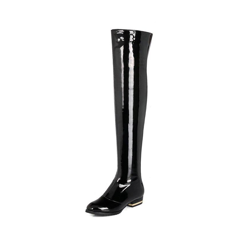 특허 가죽 컴포트 스퀘어 힐 여자 무릎 부츠 패션 사이드 지퍼 파티 여자 허벅지 부츠 블랙 레드 살구-에서무릎위 부츠부터 신발 의  그룹 2