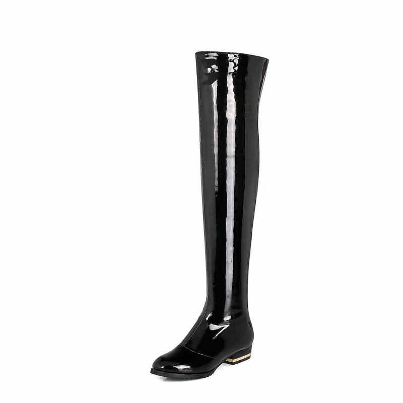 Удобные женские ботфорты из лакированной кожи на квадратном каблуке, модные вечерние женские ботфорвечерние с боковой молнией, черные, красные, абрикосовые