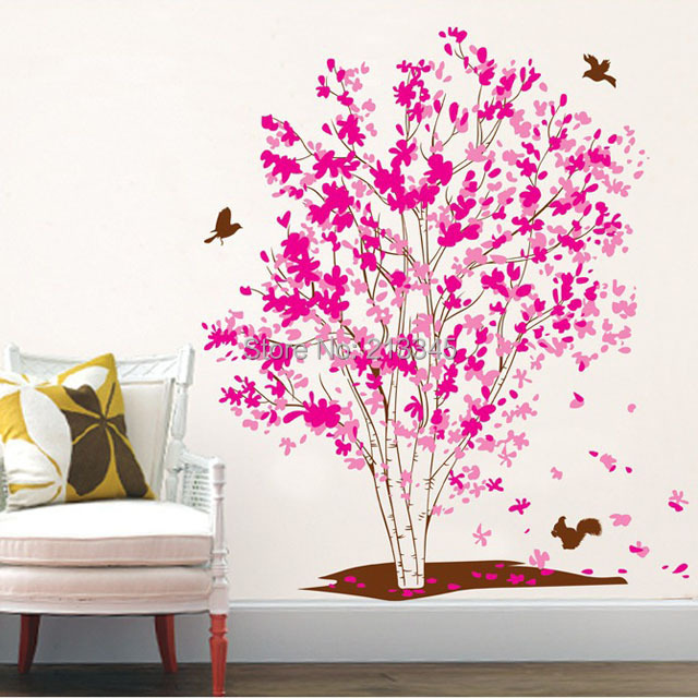 [Fundecor] Diy Wall Stickers Home Decor Pink Family Tree Wall Decal Art  Removable Pvc