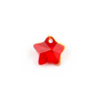 Charming 500pc 14mm Red Star Shape Baeds One Hole Crystal Glass Loose Beads Suncatchers Chandelier Prism Beads