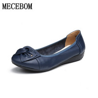 Handmade Genuine Leather Ballet Flat Shoes Women Female Casual Shoes Flats Shoes Slip On Leather Car