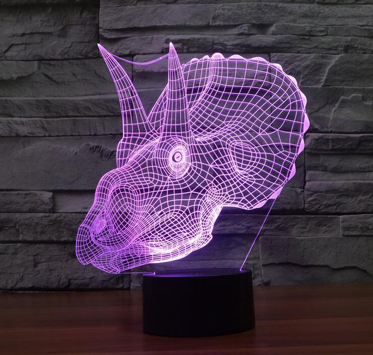Intéressant 3D Dinosaure Figure 7 Changement de Couleur Tactile Interrupteur Lampe De Table De Bureau LED lampe de construction pour la maison décorer