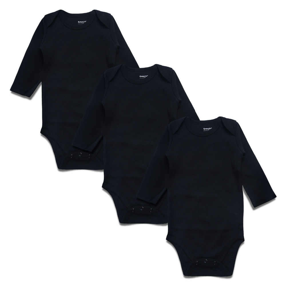 2ddc593304dfb Newborn Baby Bodysuit Black 3 Pack 100% Cotton Long Sleeve Place ...