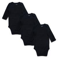 Newborn Baby Bodysuit Black 3 Pack 100 Cotton Long Sleeve Place Unisex Baby Bodysuits 100 Cotton