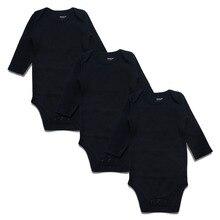Nouveau-né Bébé Body Noir 3 Pack 100% Coton À Manches Longues Place Unisexe Bébé Combinaisons 100% Coton Garçons Filles 0-24 Mois