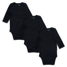 Newborn Baby Bodysuit Black 3 Pack 100% Cotton Long Sleeve Place Unisex Bodysuits Boys Girls 0-24 Months