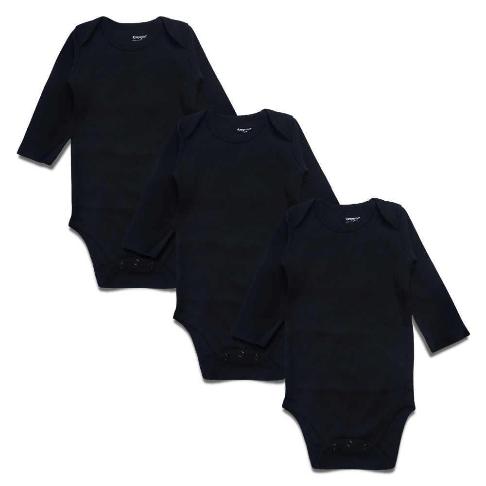 7fa55de4791 Newborn Baby Bodysuit Black 3 Pack 100% Cotton Long Sleeve Place Unisex Baby  Bodysuits for