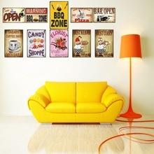 BBQ Zone  Vintage Metal Sign Food Plaque Wall Pub Restaurant Shop decorations For Home Art Decor Iron Poster DU-2013