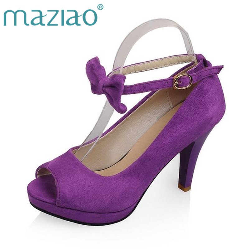 MAZIAO New arrive women pumps sweet bowtie dress wedding shoes high heel platform shoes black purple wine red size 34-43 2017 new women boots square toe fashion knee high boots motorcycle sexy thick high heel boots woman shoes black plus size 34 42