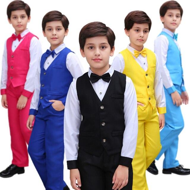 4eca7ad4c Flores niños Formal boda escuela vestido Caballero ropa conjuntos ceremonia  baile trajes para adolescentes chicos nuevo