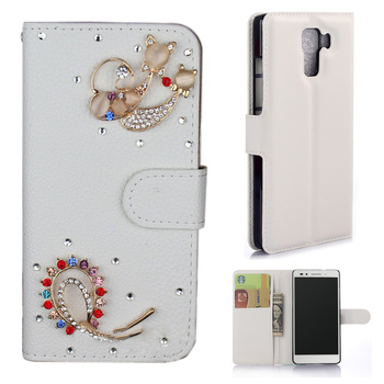 3D DIY Handmade Bling diamond Crystal PU Leather Stand Flip Wallet Phone Back Case Cover For Huawei Honor 7 with card slot