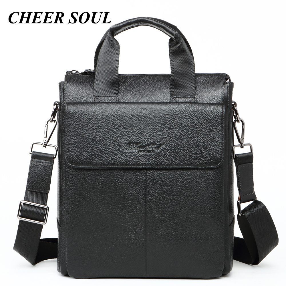 Genuine Leather Businessman Briefcase Men Laptop Bags For Men Fashion Tote Handbags A4 Document Case Male Messenger Shoulder Bag