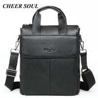 Genuine Leather Businessman Briefcase Men Laptop Bags For Men Fashion Tote Handbags A4 Document Case Male Messenger Shoulder Bag