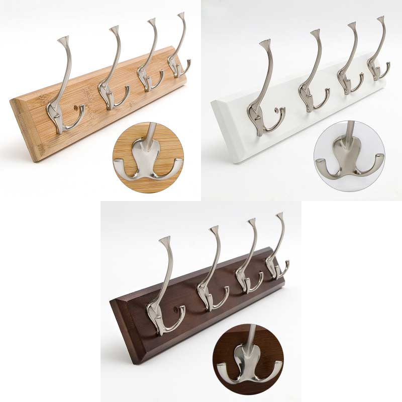 Bamboo base with 4pcs metal hook coat hanger, wall mount holder,