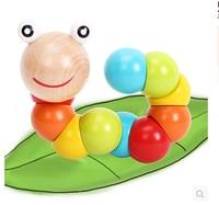 1 шт. деревянный многовариантной скручивание насекомых бисер круглый шарик игрушки хорошие подарки головоломки