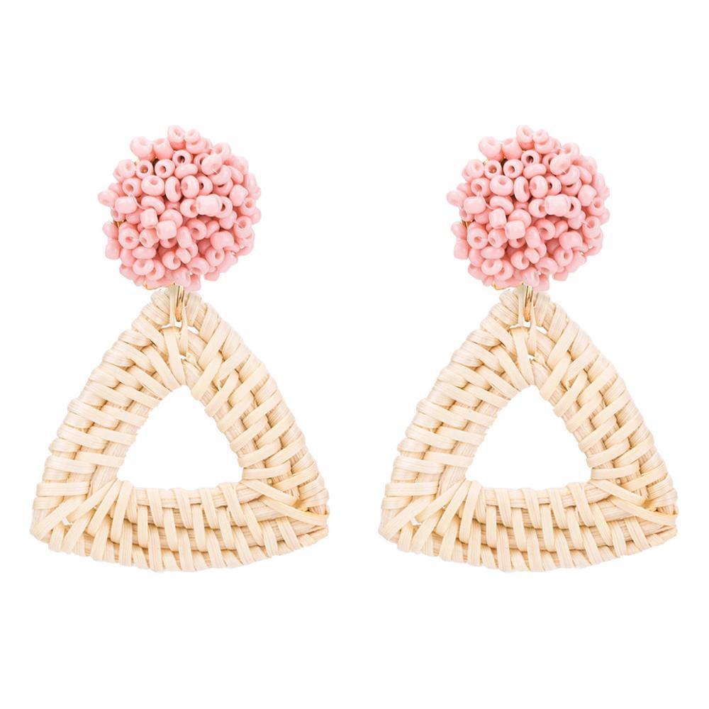 Handmade Beads Wooden Rattan Statement Earrings For Women 2019 New Boho Triangle Drop Straw Weave Knit Vine Jewelry
