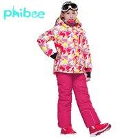 Phibee лыжный костюм для маленьких девочек одежда теплая Водонепроницаемый ветрозащитный сноуборд комплекты зимняя куртка детская одежда де