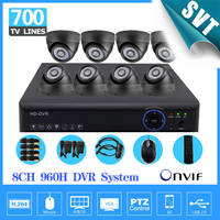 700TVL HD Home Surveillance System 8CH Full 960H H 264 3g DVR Kit CCTV Dome Weatherproof
