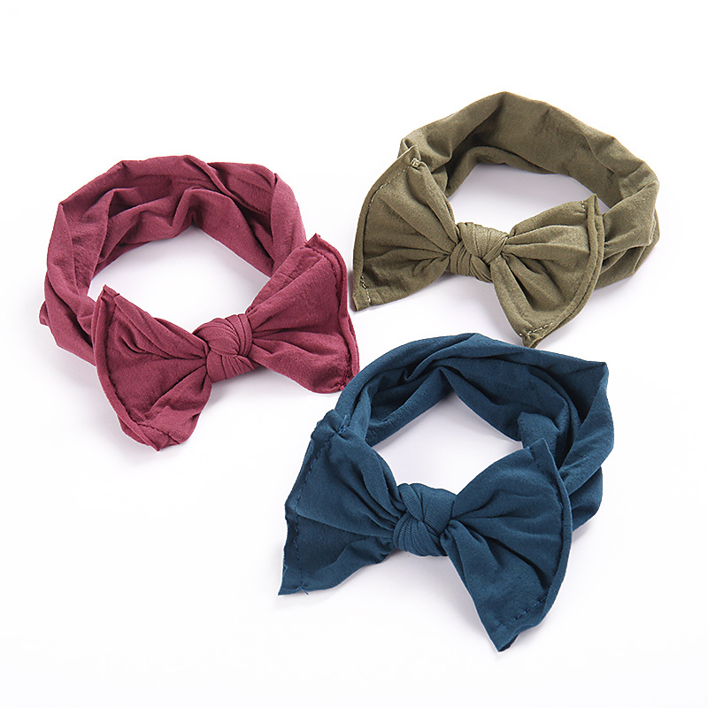 Knot Bow Nylon Headbands , One Size Fits Most Wide Nylon Headwraps 27 Colors Available