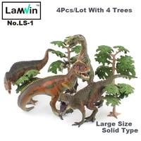 4 יח'\חבילה Lamwin גדול פלסטיק מוצק צעצועי פעולה איור אוסף דגם דינוזאורים ביצת דינוזאור מתנה חינם לילדים
