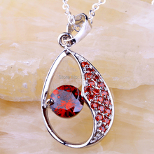 Wholesale Dignity New Design Garnet  Silver Chain Pendant Necklace Fashion Jewelry For Gift/Party human dignity