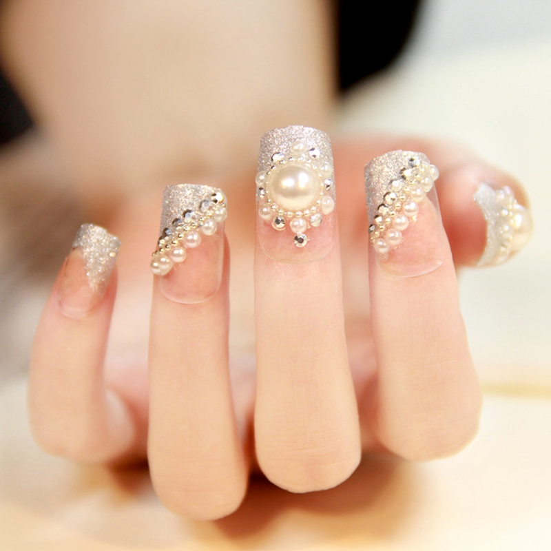 24pcs Glitter Silver Clear Large Pearl Rhinestones False Nails Tips Pre Design Acrylic 3D Wedding Style Z039 In From Beauty Health On