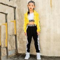 Kids Jazz Dance Costumes Girls Hip Hop Clothing Yellow Jacket Black Pants Stage Set Street Dancer Wear Children Dancewear YY19