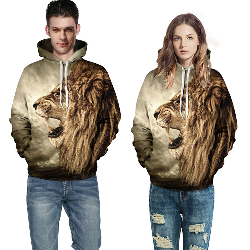 Lion Print Hoodies Women Plus Size Hooded Zipper Pocket Brown Couple Clothes Harajuku Design Lovers Sweatshirt Loose Autumn 40%F
