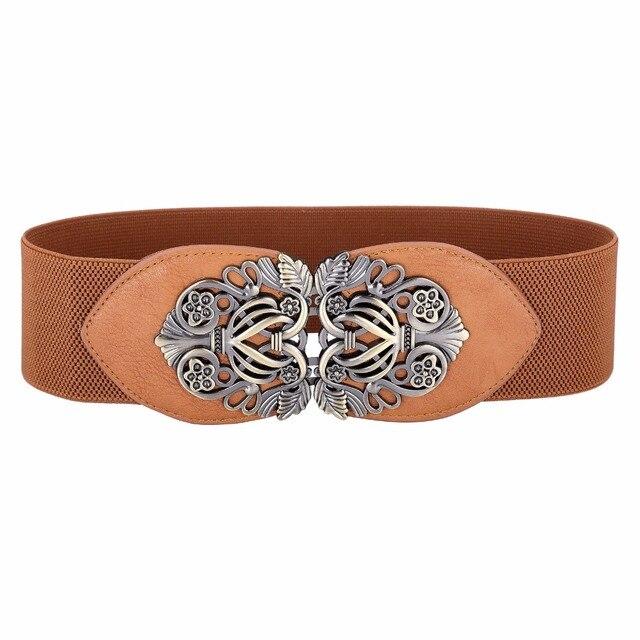 c437f100854c Good quality belts women gold metal belt ladies girls metal leaf 2018  stretchy elastic waist belt waistband belts for women