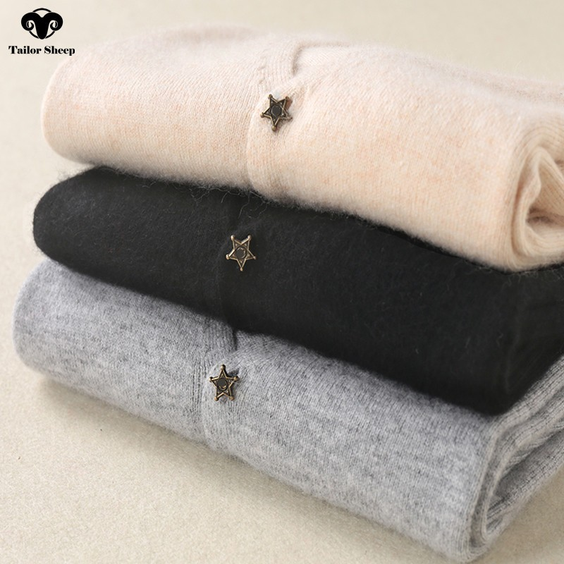Star Buckle 100% Cashmere Cardigan Women Thin Coat Short Section Autumn V-neck Collar Long Sleeve Sweater Female Outwear