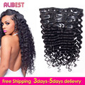 7A Deep Wave Clip in Human Hair Extensions Indian Virgin Hair Weaves Clip Ins Full Head Natural Black Clip In Hair Extensions