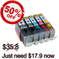 2017 big sale 5PK (PBK+BK+C+M+Y) PGI550 CLI551 edible ink cartridge for Canon PIXMA MG5650, MG6350, MG6450, MG6650, MG7150
