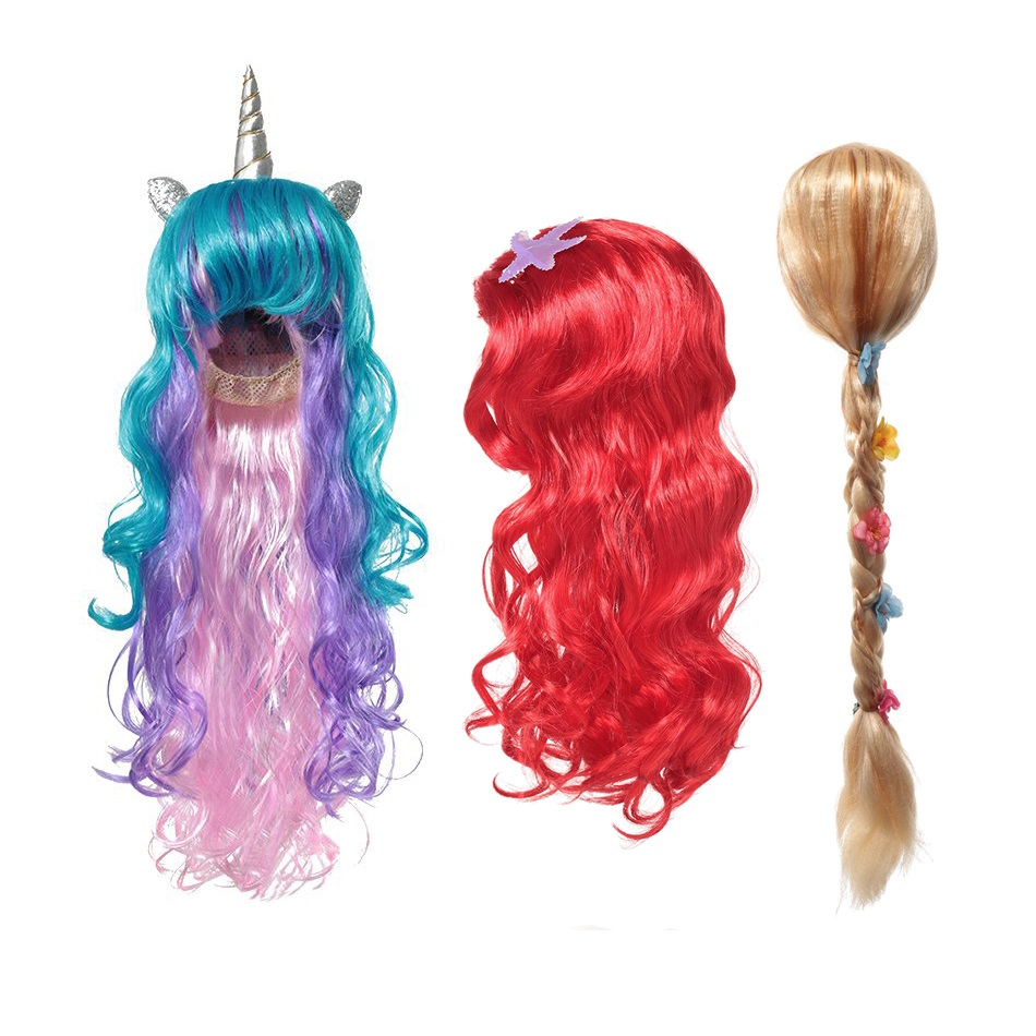 MUABABY Girls Wig Kids Unicorn Photography Props Girl Elsa Anna Aurora Braid Children Ariel Jasmine Moana Rapunzel Ladybug Hair