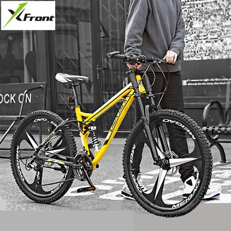 VTT cadre en acier au carbone 24 26 pouces roue 27 vitesses souple queue descente vélo Suspension sport vtt