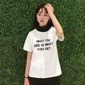 Japanese Harajuku Summer Short Sleeve T Shirt Korean Ulzzang Simple Turtleneck Tee For Women Print Letter White Casual Tops2017