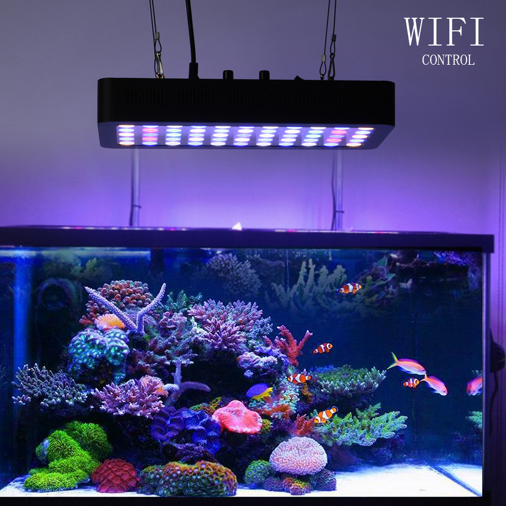 Dimmable APP Control Led Aquarium Lamp 165W Coral Reef WIFI LED Grow Light for Fish Tank Landscape Lighting Aquatic plants lamp 100w lumia 5 1 diy aquarium led light sunrise sunset dimmable led aquarium light 100w remote auto dim coral reef led lighting
