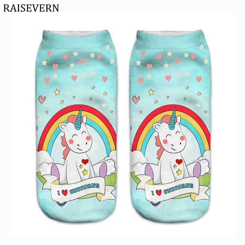 Unicorn Rainbow Heart Harajuku Men Socks Cotton 3D Print Men Kawaii Calcetines Femme New Mujer Summer Funny Ankle Socks for Men