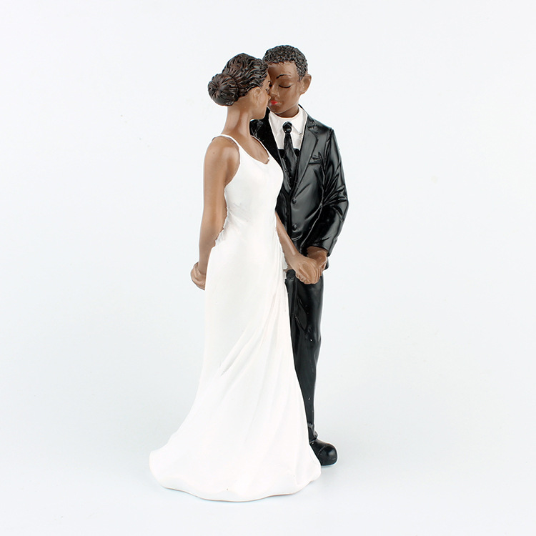 1 Piece African American sweet love Figurine Bride Groom Wedding Cake Topper marriage Event Party Supplies anniversary Black in Cake Decorating Supplies from Home Garden