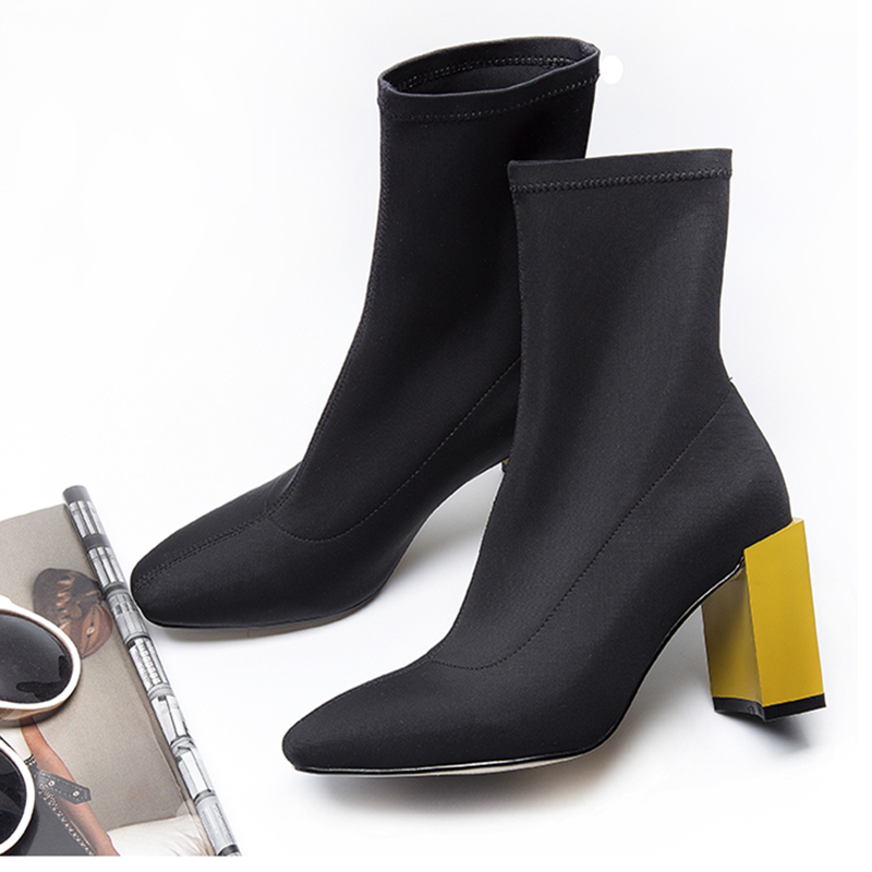 Hanbaidi New Square high Heel Stretch Fabric Women Botas Ankle Boots golden silver High Heel Sock Shoes Botines Mujer Pumps 39